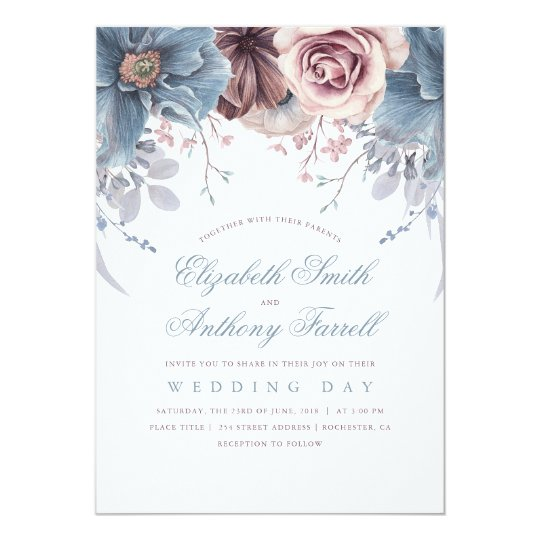 Watercolor wedding invitations announcements zazzle dusty blue and mauve watercolor floral wedding card junglespirit Choice Image