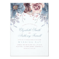 Dusty Blue and Mauve Watercolor Floral Wedding Invitation