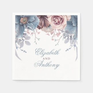Dusty Blue and Mauve Watercolor Flowers Napkin