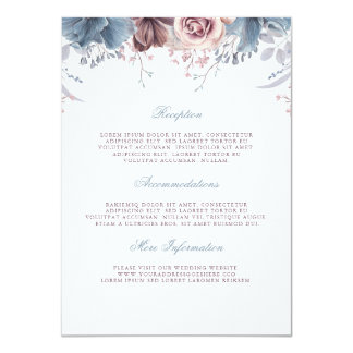 Dusty Blue and Mauve Wedding Information Guest Card