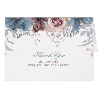 Dusty Blue and Mauve Wedding Thank You Card