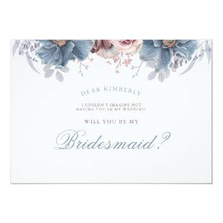 Dusty Blue and Mauve - Will You Be My Bridesmaid Invitation