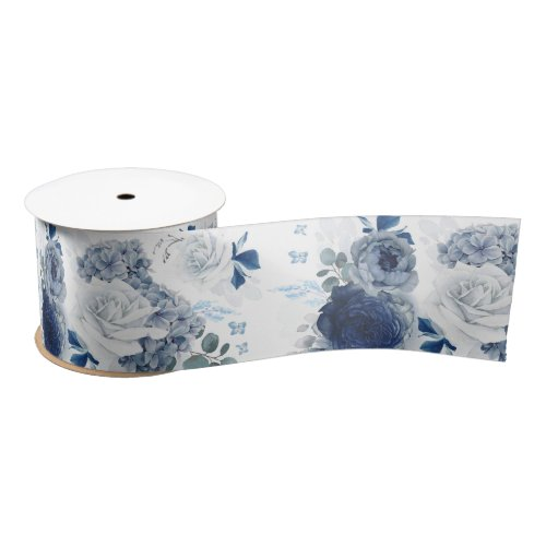 Dusty Blue and Navy Blue Floral Elegant Romantic Satin Ribbon