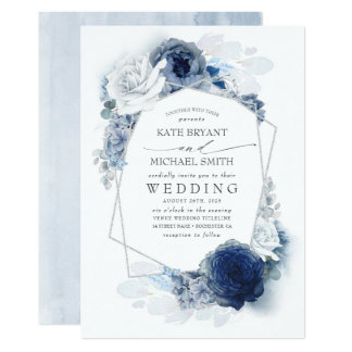 Dusty Blue and Navy Floral Elegant Silver Wedding Invitation