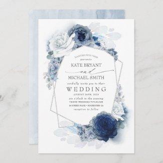 Dusty Blue, Navy Floral Elegant Silver Wedding Invitation