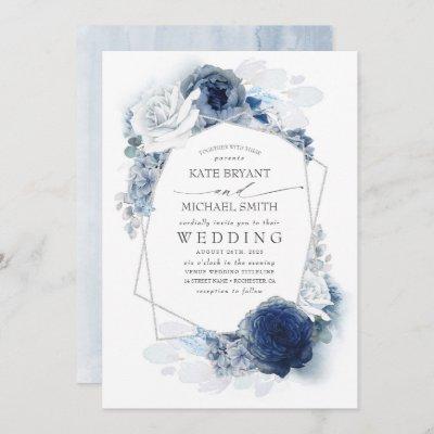 Dusty Blue and Navy Floral Elegant Silver Wedding Invitation