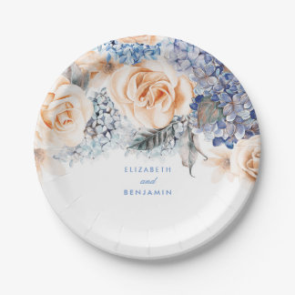 Dusty Blue and Peach Floral Elegant Wedding Paper Plate