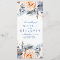 Dusty Blue and Peach Floral Wedding Programs