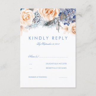 Dusty Blue and Peach Floral Wedding RSVP Card