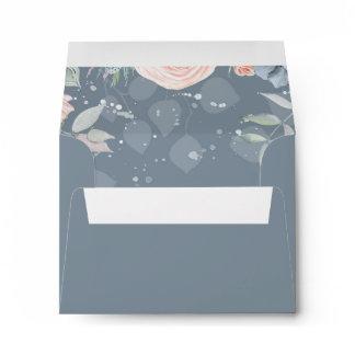 Dusty Blue and Peach Flowers Elegant Wedding Envelope