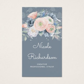Dusty Blue and Peachy Roses Elegant Floral Pastels Business Card