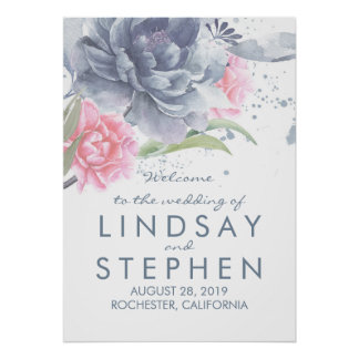 Dusty Blue and Pink Floral Wedding Welcome Sign
