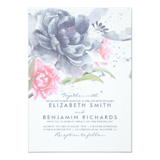 Dusty Blue and Pink Watercolor Flowers Wedding Card