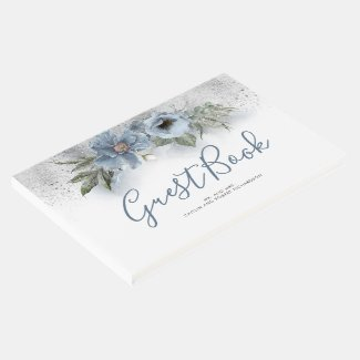 Dusty Blue and Silver Glitter Wedding Guest Book