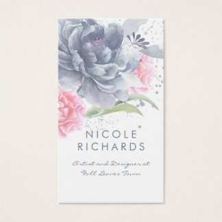 Dusty Blue and Soft Pink Watercolor Floral Elegant Business Card