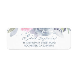 Dusty Blue and Soft Pink Watercolor Flowers Label