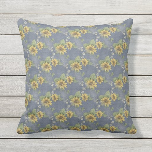 Blue And Brown Outdoor Throw Pillows : Dusty Blue and Sunflowers Outdoor Throw Pillow Zazzle