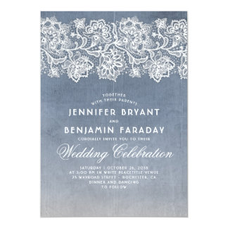 Dusty Blue and Vintage Floral Lace Wedding Card
