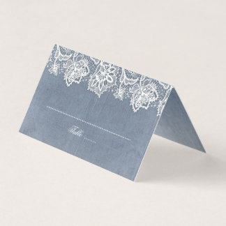 Dusty Blue and Vintage Lace Wedding Place Card