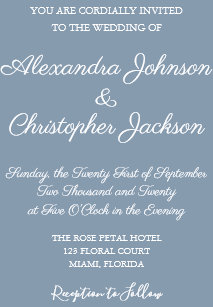 Dusty Blue And White Simple Wedding Invitation
