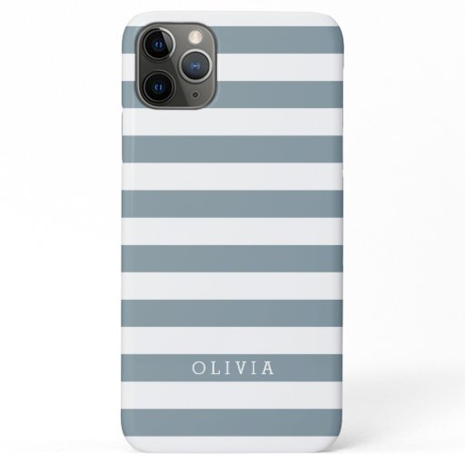 Dusty Blue and White Stripes Monogrammed iPhone 11 Pro Max Case
