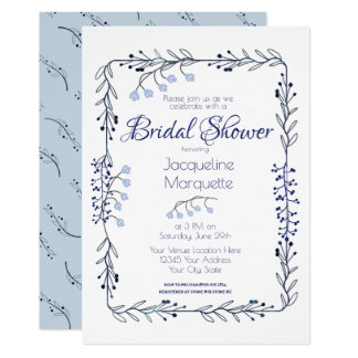 Dusty Blue and White Vine Chic Invitation