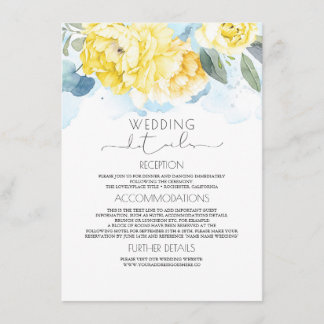 Dusty Blue and Yellow Floral Wedding Information Enclosure Card