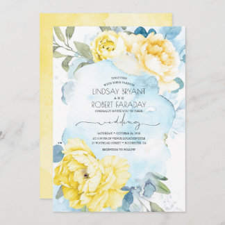 Dusty Blue and Yellow Floral Wedding Invitation
