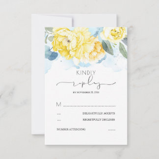 Dusty Blue and Yellow Flowers Wedding RSVP