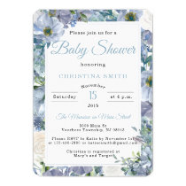 Dusty Blue Baby Shower Invitations with Florals