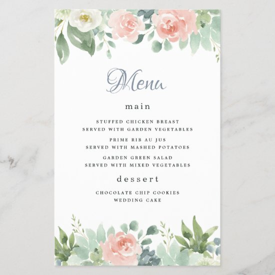 Dusty Blue Blush Floral Garden Wedding Menu Cards