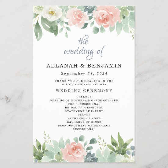 Dusty Blue Blush Floral Garden Wedding Programs