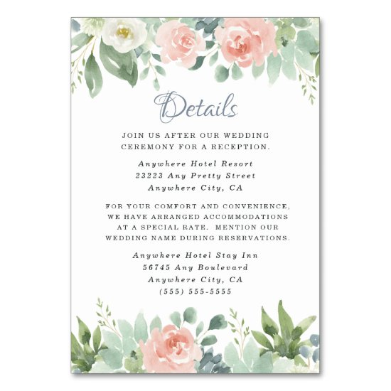 Dusty Blue Blush Floral Wedding Enclosure Cards