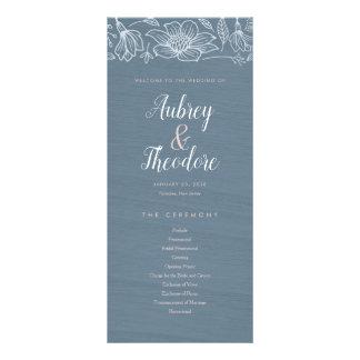 Dusty Blue & Blush Flowers Wedding Program - Dark