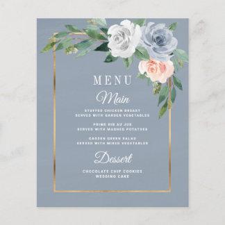 Dusty Blue Blush Pink Floral Wedding Menu Cards