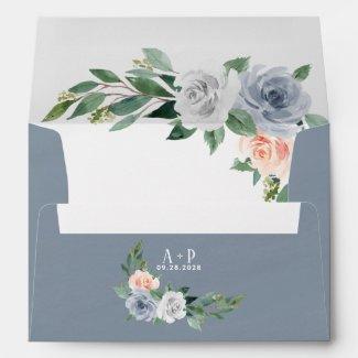 Dusty Blue Blush Pink Peach Floral Vintage Wedding Envelope