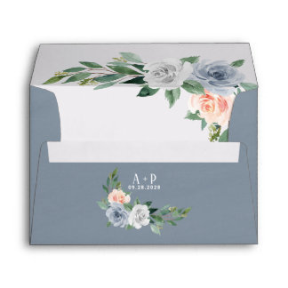 Dusty Blue Blush Pink Peach Floral Vintage Wedding Envelope