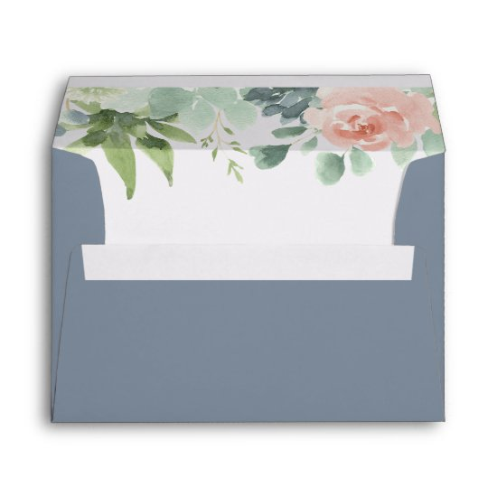 Dusty Blue Blush Succulent Floral Garden Wedding Envelope