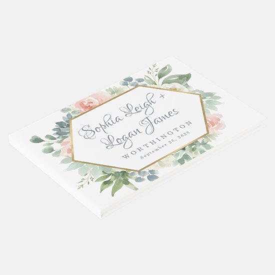 Dusty Blue Blush Succulent Floral Garden Wedding Guest Book