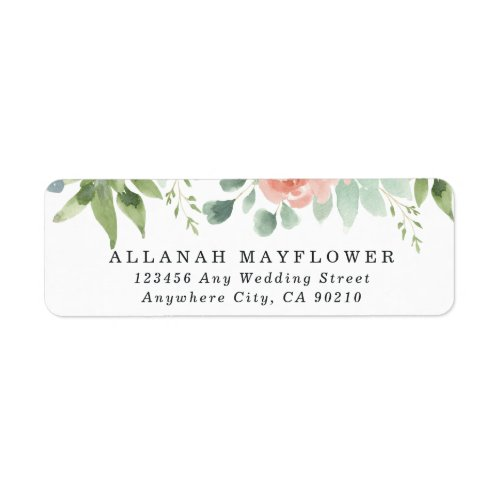 Dusty Blue Blush Succulent Floral Garden Wedding Label