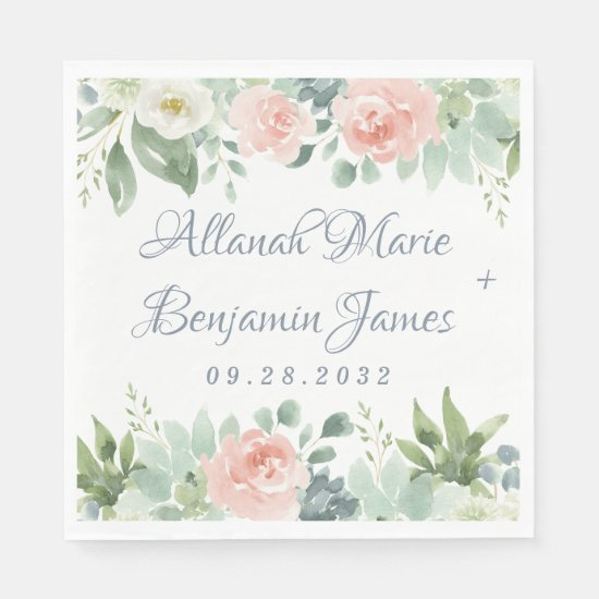 Dusty Blue Blush Succulent Floral Garden Wedding Napkin