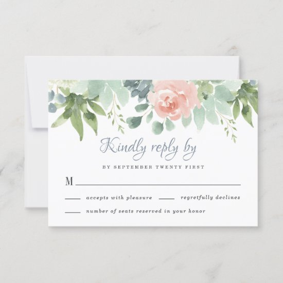 Dusty Blue Blush Succulent Floral Garden Wedding RSVP Card