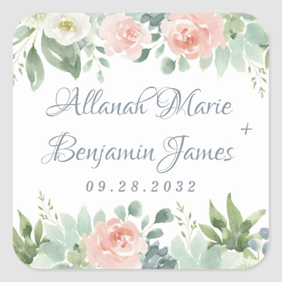 Dusty Blue Blush Succulent Floral Garden Wedding Square Sticker