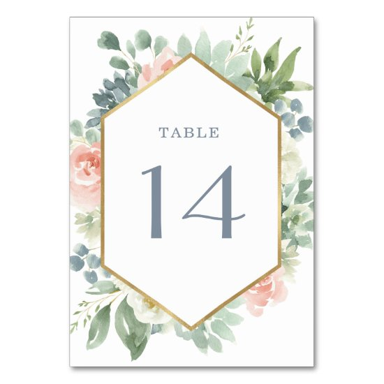 Dusty Blue Blush Succulent Floral Garden Wedding Table Number