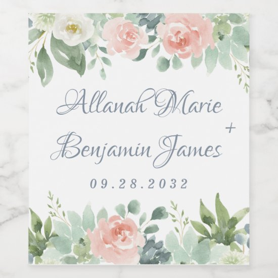 Dusty Blue Blush Succulent Floral Garden Wedding Wine Label