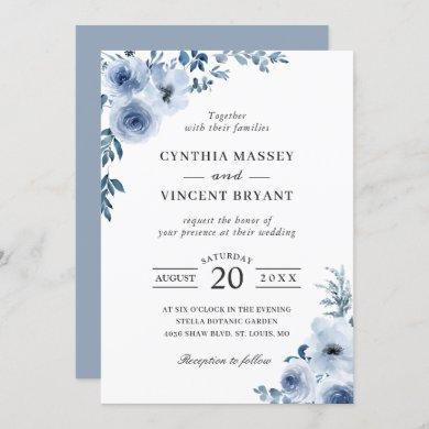 Dusty Blue Bohemian Floral Boho Wedding Invitation