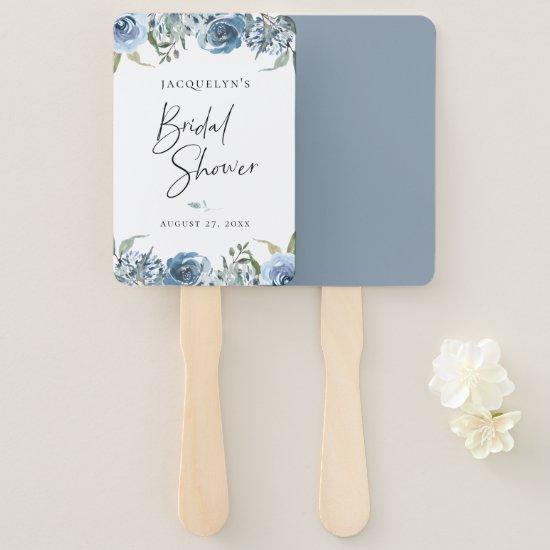 Dusty Blue Botanical Bridal Shower Hand Fan