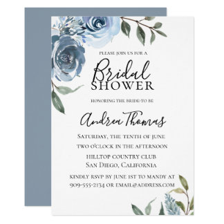 Dusty Blue Botanical Bridal Shower Invitation