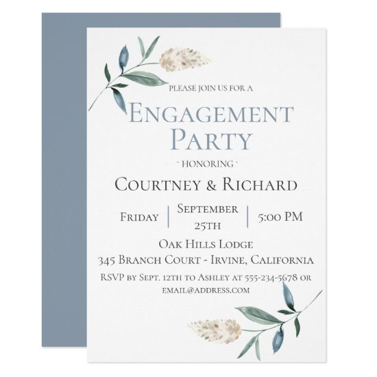 Dusty Blue Botanical Engagement Party Invitation