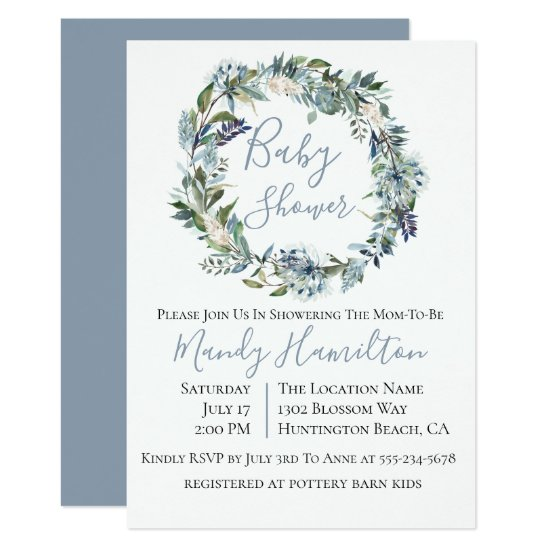 Dusty Blue Botanical Floral Baby Shower Invitation